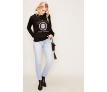 Leichter Pullover mit Logo-Applikation Schwarz/Weiß