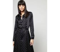 Maxi-Seidenkleid 'Duford Silk' mit Punktemuster Schwarz