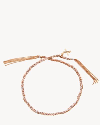 Armband 'Lucky Bracelet' 18 Kt. Roségold/Weißes Seidenband