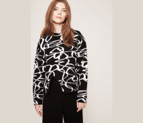 Kurzer Pullover mit rückseitigem Reißverschluss Schwarz/Weiß