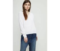 Oversized Cashmere V-Neck Pullover Crèmeweiß
