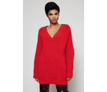 Oversized V-Neck Pullover Rot