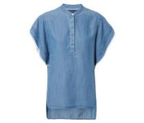 Lange Bluse in Jeansoptik Blau