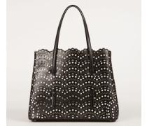 Tasche 'Shopper' gestanztes Leder Schwarz/Weiß