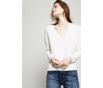 Klassischer Cashmere-Pullover Weiß/Hellblau