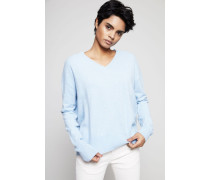 Oversized Cashmere V-Neck Pullover Blau