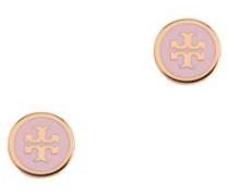 Emaillierte Logo-Ohrstecker Rosa/Gold