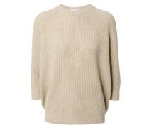 Gerippter Cashmere-Seiden-Pullover mit feinen Pailetten Beige