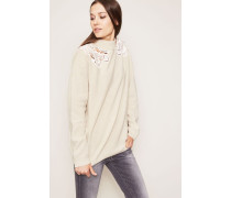 Woll-Cashmere-Pullover mit Heckel-Details Greige