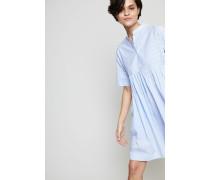 Gestreiftes Hemdblusenkleid Blau/Weiß