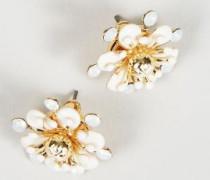 Blumen-Ohrstecker Weiß/Gold