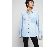 Jeans-Hemd mit Fransen am Saum Blau