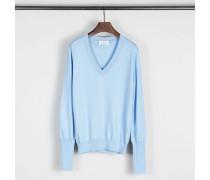 Klassischer Baumwoll-Cashmere-Pullover Blau
