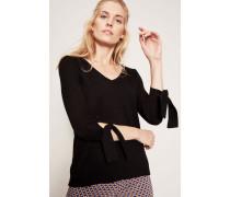 Pullover mitBindeelement am Ärmel Schwarz