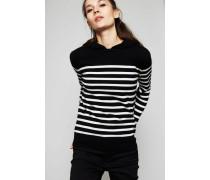 Cashmere-Pullover mit Kapuze Schwarz/Weiß