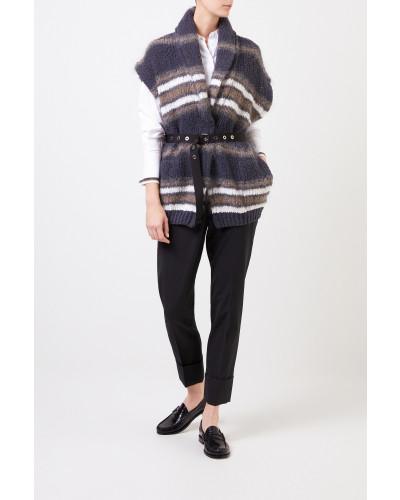 Kurzarm Woll-Cardigan mit Gürtel Grau/Multi