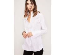 Gestreifte Bluse mit breiter Manschette Weiß