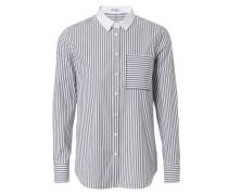 Gestreifte Baumwoll-Bluse mit abgesetzten Kragen Grau/Weiß