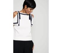 Pullover mit Bindeelement Ivory/Marineblau