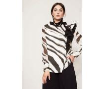 Bluse mit Rüschen-Details Schwarz/Weiß
