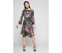 Kleid mit floralem Muster Schwarz/Mutli