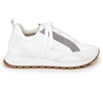 Sneaker mit Materialmix Weiß/Beige