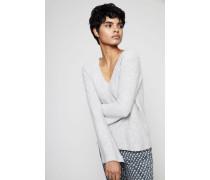 Cashmere-Pullover mit asymmetrischem Ärmelsaum Grau