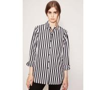 Gestreifte Baumwolle-Bluse Schwarz/Weiß