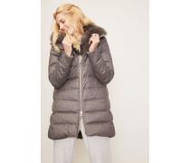 Woll-Mantel mit abnehmbarem Fellkragen Grau