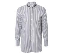 Gestreifte Baumwoll-Bluse mit abgesetzten Kragen Schwarz/Weiß