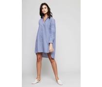 Gestreiftes Baumwoll-Blusenkleid Blau/Weiß