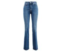 Baumwoll-Bootcut-Jeans 'Lisha' Mittelblau