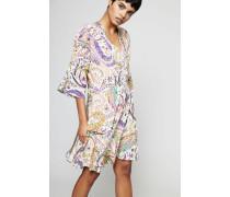Seiden-Kleid mit 3/4-Ärmeln Weiß/Multi