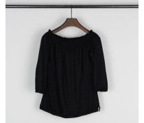 Off-Shoulder Leinenshirt Schwarz