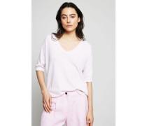 Cashmere-Pullover mit geschlitztem Saum Rosé