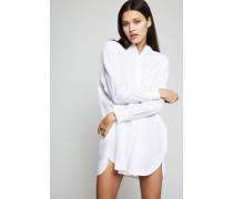 Leinen Oversized-Bluse Weiß
