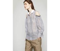 Off-Shoulder Bluse mit Perlendetails Gestreift