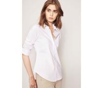 Kurzärmelige Bluse mit Raffung Weiß