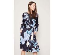 Seiden-Wickelkleid 'Suri' mit floralem Print Blau/Multi