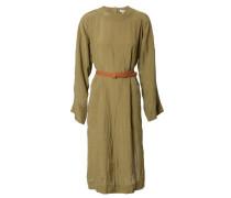 Strukturiertes Kleid mit Ledergürtel Oliv/Braun
