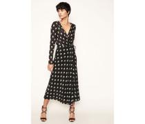 Seiden-Wickelkleid 'Flar Wrap Dress' Schwarz/Multi