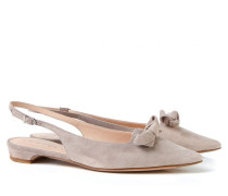 Slingback-Flats mit Schleife Taupe
