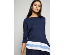 Langarm-Shirt mit abgesetztem Saum Blau