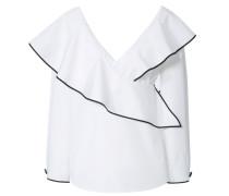 Blusenshirt mit Volants Weiß/Schwarz