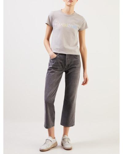 T-Shirt mit Aufdruck 'Parisienne' Grau