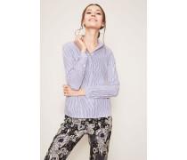 Baumwoll-Bluse 'Asia' Weiß/Blau