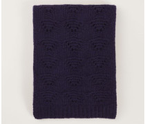 Cashmere-Schal mit Strickmuster Marineblau