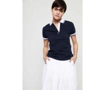 Poloshirt mit abgesetztem Kragen Navy/Weiß