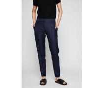 Bügelfaltenhose mit Zipper-Details Marineblau
