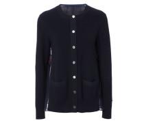 Strick-Seiden-Jacke mit Plissee-Falten Dunkelblau/Multi